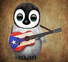 Baby Penguin Playing Puerto Rico Flag Guitar by Jeff Bartels