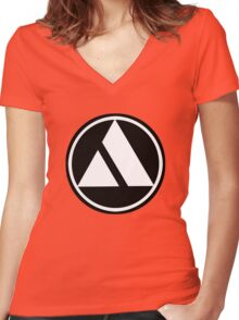 Classic Car Logos: Autobianchi Women's Fitted V-Neck T-Shirt