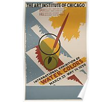 WPA United States Government Work Project Administration Poster 0491 Art Institute Chicago Internationa Exhibition Water Colors Poster