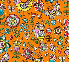 Owls Birds Butterfly&Flower by CajaDesign