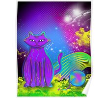 cat with yarn Poster