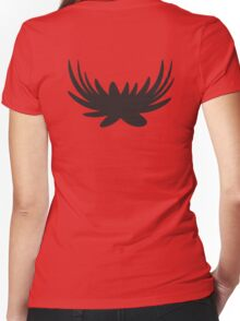 Black wings unusual shape Women's Fitted V-Neck T-Shirt