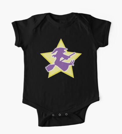 Purple witch on a BROOMSTICK One Piece - Short Sleeve