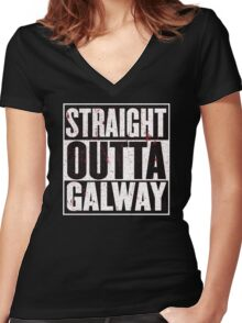 Straight Outta Galway Women's Fitted V-Neck T-Shirt