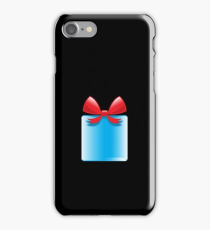 Blue gift or present with a red bow iPhone Case/Skin