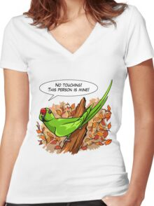 Talking green ringneck parrot Women's Fitted V-Neck T-Shirt