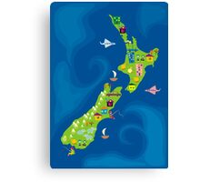 cartoon map of new zeland Canvas Print
