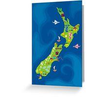cartoon map of new zeland Greeting Card