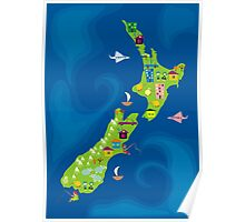 cartoon map of new zeland Poster