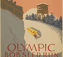 WPA United States Government Work Project Administration Poster 0932 Olympic Bobsled Run Lake Placid by wetdryvac