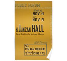 WPA United States Government Work Project Administration Poster 0559 Public Forum H Duncan Hall Poster