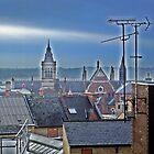 Northampton skyline with mist by Veterisflamme