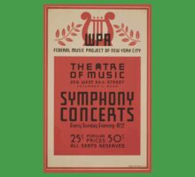 WPA United States Government Work Project Administration Poster 0663 Theatre of Music Symphony Concerts Federal Music Project One Piece - Short Sleeve