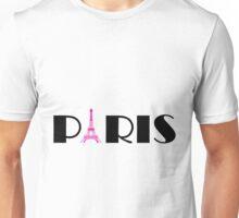 Hot Pink Black Eiffel Tower  Unisex T-Shirt