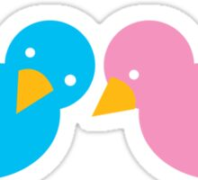 cute little birds whispering to each other pink blue Sticker