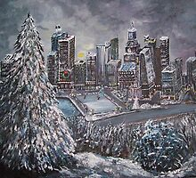 Winter City Scape w/snow and ice rink by rokinronda