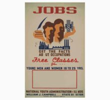 WPA United States Government Work Project Administration Poster 0521 Jobs Free Classes Young Men Women National Youth Association One Piece - Short Sleeve