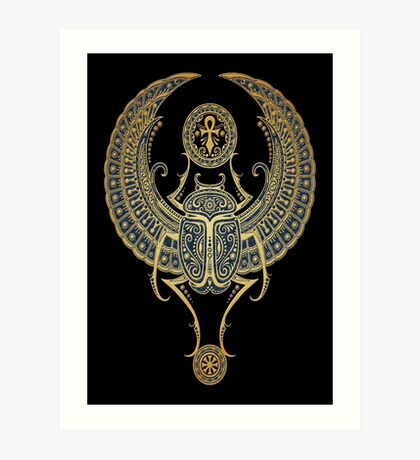 Golden Blue Winged Egyptian Scarab Beetle with Ankh  Art Print