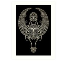 Dark Winged Egyptian Scarab Beetle with Ankh  Art Print