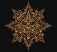 Ancient Yellow and Black Aztec Sun Mask  One Piece - Short Sleeve