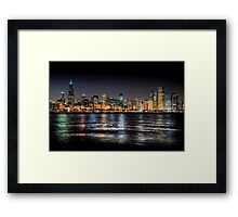 Chicago skyline at midnight Framed Print