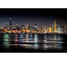 Chicago skyline at midnight Photographic Print