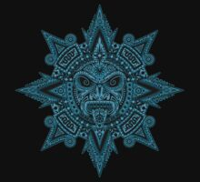 Ancient Blue and Black Aztec Sun Mask  Baby Tee