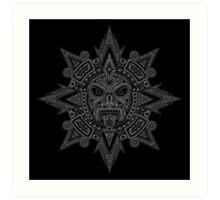 Ancient Gray and Black Aztec Sun Mask  Art Print