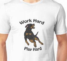 Work Hard, Play Hard - Black & Tan Unisex T-Shirt
