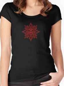 Ancient Red and Black Aztec Sun Mask  Women's Fitted Scoop T-Shirt