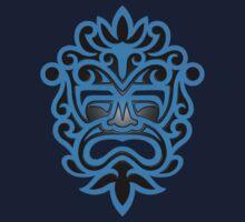 Stylish Blue and Black Mayan Mask Kids Tee