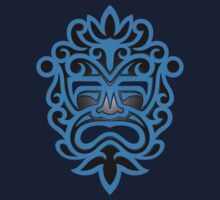 Stylish Blue and Black Mayan Mask One Piece - Short Sleeve