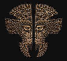 Stone Aztec Twins Mask Illusion One Piece - Long Sleeve