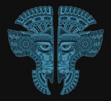 Blue and Black Aztec Twins Mask Illusion Baby Tee