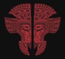 Red and Black Aztec Twins Mask Illusion One Piece - Short Sleeve