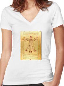Da Vinci's Vitruvian Timelord Women's Fitted V-Neck T-Shirt