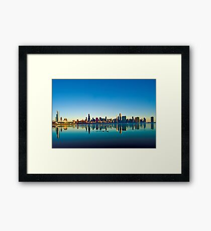 Chicago skyline at sunrise. Framed Print