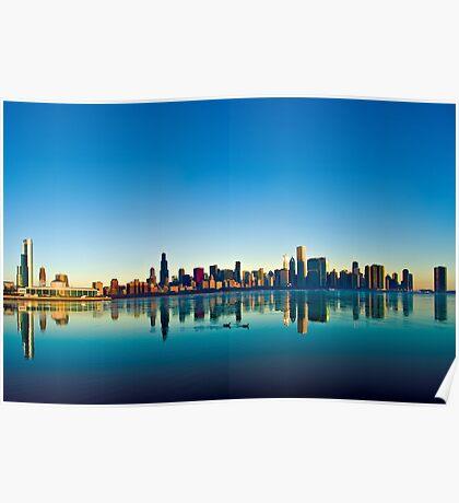 Chicago skyline at sunrise. Poster