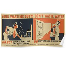 WPA United States Government Work Project Administration Poster 0678 Your Wartime Duty Don't Waste Water Keep Water in Icebox Poster