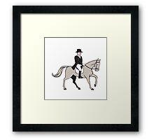 Equestrian Rider Dressage Cartoon Framed Print