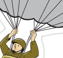 American Paratrooper Parachute Cartoon Sticker