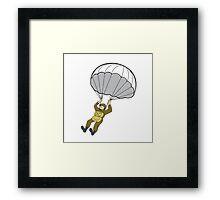 American Paratrooper Parachute Cartoon Framed Print