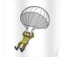 American Paratrooper Parachute Cartoon Poster