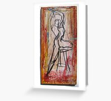 Woman on One Leg and stool Greeting Card
