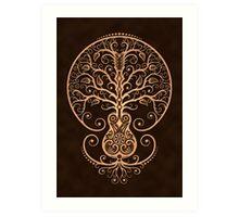 Brown Acoustic Guitar Tree of Life  Art Print