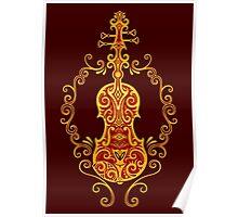 Intricate Golden Red Tribal Violin Design Poster