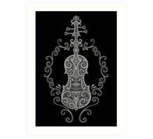 Intricate Gray and Black Tribal Violin Design Art Print