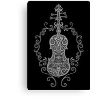 Intricate Gray and Black Tribal Violin Design Canvas Print