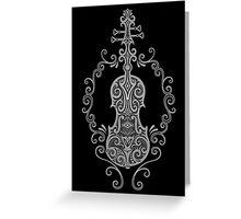 Intricate Gray and Black Tribal Violin Design Greeting Card