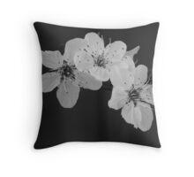 Black and White Blossom Throw Pillow